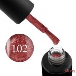 Гель-лак Naomi 102  Rose Copper Glittar розово-кремовый с блестками, 6 мл