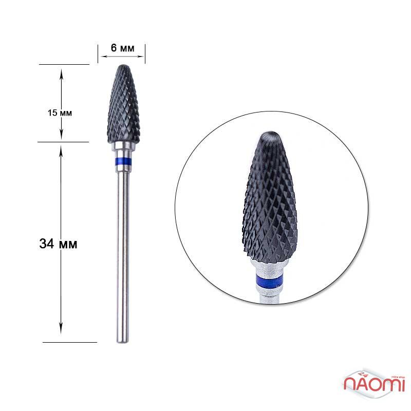 Насадка керамическая Flame M 3/32с, для снятия гель-лака, d=15*6 мм, черная, метал, фото 1, 118.00 грн.