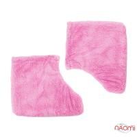 Носочки для парафинотерапии махровые, цвет розовый, пара