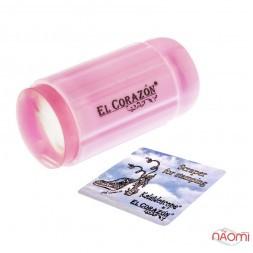 Односторонний силиконовый штамп и скрапер для стемпинга El Corazon № K-sst-10, розовый