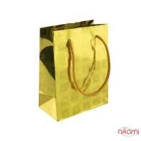 Пакет подарочный голограмма 12х9 см, золото