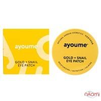 Патчи гидрогелевые под глаза Ayoume Gold+Snail Eye Patch с золотом и улиточным муцином, 60 шт.