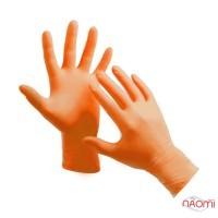 Перчатки нитриловые упаковка - 5 пар, размер S (без пудры), оранжевые