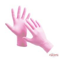 Перчатки нитриловые упаковка - 5 пар, размер XS (без пудры), розовые