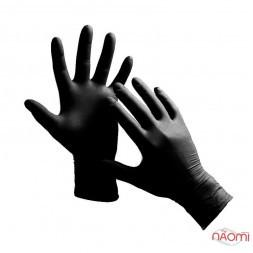 Перчатки нитриловые упаковка - 50 пар, размер L (без пудры), черные