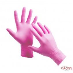 Перчатки нитриловые упаковка - 50 пар, размер L (без пудры), розовые