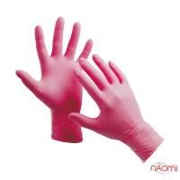 Перчатки нитриловые упаковка - 5 пар, размер S (без пудры), розовые