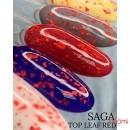 Топ для гель-лака без липкого слоя Saga Professional Top Leaf Red с красными хлопьями потали, 8 мл, фото 2, 110.00 грн.