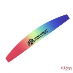 Пилка для ногтей Global Fashion 100/180, полукруг, цвет в ассортименте