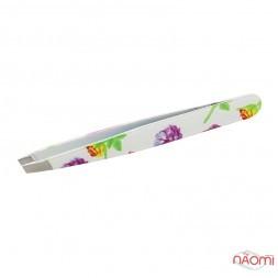 Пинцет для бровей 02, скошенные кромки, 9,5 см, цветы