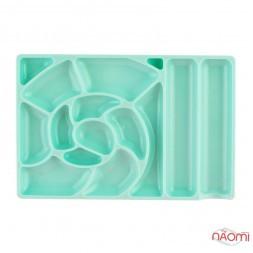 Пластиковая палитра для смешивания различных текстур, прямоугольная с ячейками, цвет мятный