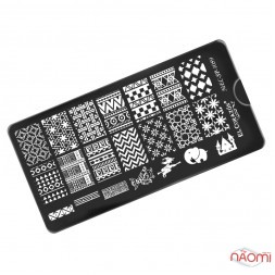 Пластина для стемпинга EL Corazon EC-SP1059 Узоры, ромашки, геометрия, 12х6 см