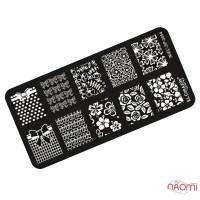Пластина для стемпинга EL Corazon EC-SP2054, 12х6 см, Цветы, бантики