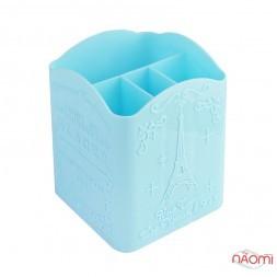 Подставка для кисточек на 4 отделения, цвет голубой