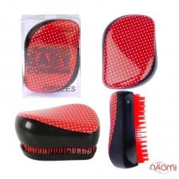 Расческа Hairway Compact Easy Combing Circles, цвет красный в белый горошек