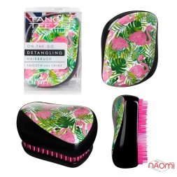 Расческа Tangle Teezer Compact Styler Flamingo Skinny Dip Green, фламинго