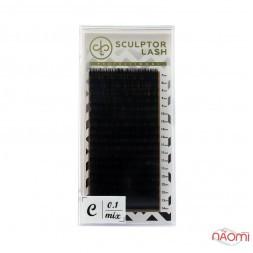 Вії Sculptor Lash Gold C 0.10 (18 рядів: 7-14 мм), чорні