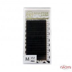 Вії Sculptor Lash Gold M 0.10 (18 рядів: 7-14 мм), чорні