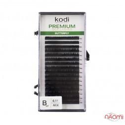 Вії Kodi professional Butterfly Green B 0.10 (16 рядків: 6,7,8,9,10,11,12,13 мм), чорні