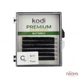 Ресницы Kodi professional Butterfly Green С 0.10 (6 рядов: 11 мм), черные