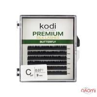 Ресницы Kodi professional Butterfly Green C 0.07 (6 рядов: 9 мм), черные