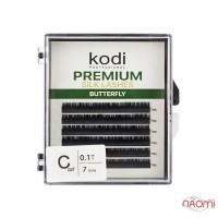 Ресницы Kodi professional Butterfly Green С 0.10 (6 рядов: 7 мм), черные