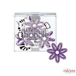 Резинка-браслет для волосся Invisibobble NANO Meow and Ciao, колір фіолетовий, 20х3 мм, 3 шт.