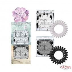 Резинка-браслет для волос Invisibobble ORIGINAL Bloom Stuck On You, цвет серый, черный 6 шт.