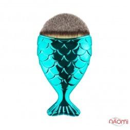 Кисть для макияжа, для тона, рыбка, синтетический ворс, цвет в ассортименте