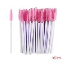 Щеточка для бровей и ресниц прямая, бело-розовая, 50 шт.