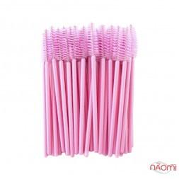 Щеточка для бровей и ресниц прямая, розовая, 50 шт.