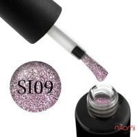 Гель-лак Naomi Self Illuminated SI 09 сверкающий розово-серебристый с блестками и слюдой, 6 мл
