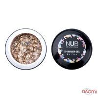 Гель NUB Shimmer Gel 01, золотой голографический микс блесток и конфетти, 5 г