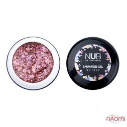 Гель NUB Shimmer Gel 02, розовый голографический микс блесток и конфетти, 5 г