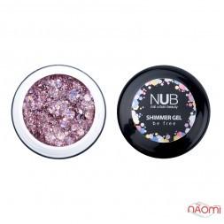 Гель NUB Shimmer Gel 03, светло-сиреневый голографический микс блесток и конфетти, 5 г