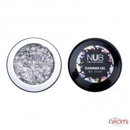 Гель NUB Shimmer Gel 04, серебряный голографический микс блесток и конфетти, 5 г