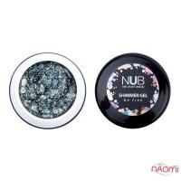Гель NUB Shimmer Gel 05, серебристо-бирюзовый голографический микс блесток и конфетти, 5 г