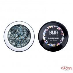 Гель NUB Shimmer Gel 05 сріблясто-бірюзовий голографічний мікс блискіток і конфетті, 5 г