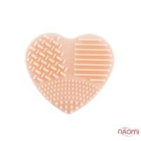 Силиконовая подушка-сердце для очистки кистей, 7х7 см, цвет персиковый