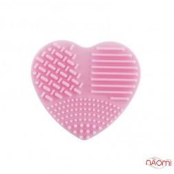 Силиконовая подушка-сердце для очистки кистей, 7х7 см, цвет розовый