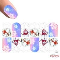 Слайдер-дизайн 1296 Снеговики, снежинки