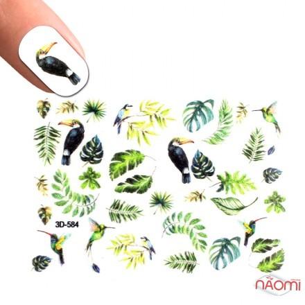 Слайдер-дизайн 3D 584 Листья, птицы, фото 1, 50.00 грн.