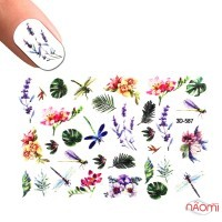 Слайдер-дизайн 3D 587 Стрекоза, листья, цветы