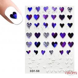 Слайдер-дизайн 3D 058 Сердца, фиолетовые