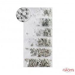 Стрази ss3-ss10 Silver, колір дзеркальне срібло, 1440 шт.