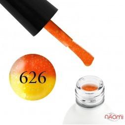 Термо гель-лак Koto 626 оранжевый, при нагревании переходит в желтый, с блестками, 5 мл