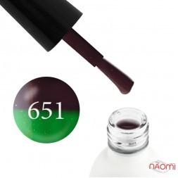 Термо гель-лак Koto 651 шоколадный, при нагревании переходит в зеленый, с мелкими блестками, 5 мл