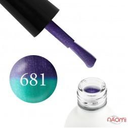Термо гель-лак Koto 681 фиолетовый, при нагревании переходит в бирюзово-зеленый, с шиммерами, 5 мл