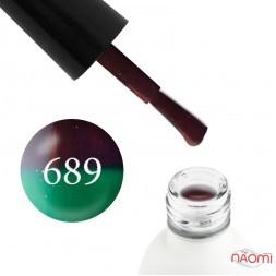 Термо гель-лак Koto 689 шоколадный, при нагревании переходит в зеленый, с мелкими блестками, 5 мл