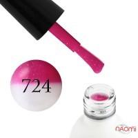 Термо гель-лак Koto 724 насичений рожевий з переходом в білий, з дрібними блискітками, 5 мл